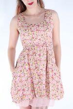 SIZE 10 RARE PINK PEACH FLORAL FLOWER PRINT LAYER TIE WAIST POCKET SHIRT DRESS
