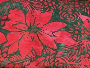 """Red Poinsettia Green Batik Fabric Tye Dye 100% Cotton Quilt Fabric 20"""" Full Wide"""