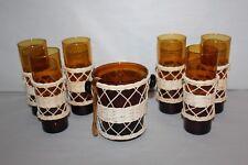 Service à orangeade vintage verre fumé et gainé de rotin 8 pièces