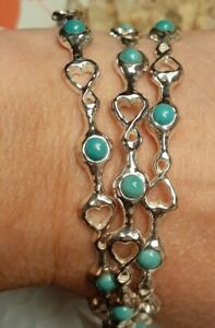 Circle Of Hearts Sterling Silver Overlay Bronze Turquoise Bangle Bracelet Set 3