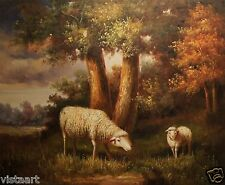 """High Quality Oil Painting on Stretched Canvas 20x24"""" Lovely Pair of White Sheep"""