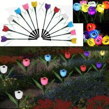 12 PCS Solar Powered Tulip Flower Lamp LED Light Garden Path Way Night Light VIP