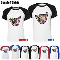 Cool Car JDM Finger Six Design Couples T-Shirt Men's Women's Graphic Tee Tops