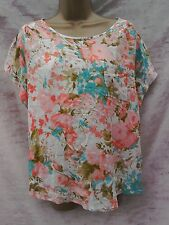 summer top size 12 coral peach turquouse holiday poolside