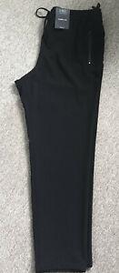 Ladies M&S Size 14 Medium Black Tapered Leg Pull on Trousers Free Postage