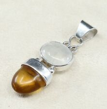 Vintage Sterling Silver Handmade Pendant, Solid 925 Silver With Oval Moonstone