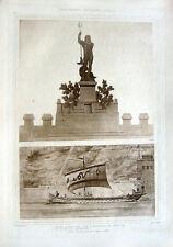 12 ~ ACROPOLIS OF SUNIUM NEPTUNE STATUE ~ Old 1905 Architecture Detail Art Print