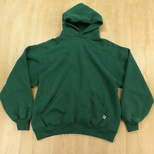 vtg usa made Russell Athletic hoodie sweatshirt LARGE green 80s 90s blank