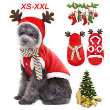 Pets Dog Cat Christmas Clothes Warm Deer Horn Hoodie Kitten Xmas Costume Outfit