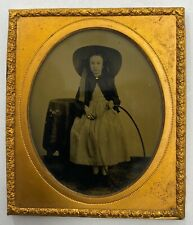 Antique Ambrotype Photo Girl Standing with Hula Hoop 19th Century