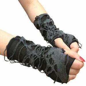 Gothic Arm Gloves Fingerless Punk Halloween - UK Seller