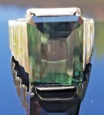 Fashion Blue Green Flawless Tourmaline 14k white gold ring/band