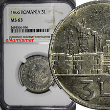 Romania Nickel Clad Steel 1966 3 Lei NGC MS63 1 YEAR TYPE KM# 96