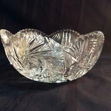 "Vintage, large cut crystal clear glass fruit bowl; 9"" diameter.  ( N5 )"