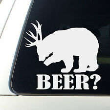 Bear +  Deer = Beer? Funny Decal sticker awesome Hunting truck drink cowboy