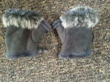 Ladies Grey Faux Shearling Fingerless Gloves