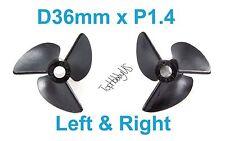 1set D36mm 3-Blades Left & Right P1.4 RC Boat Propellers 3mm Shaft (US Seller)