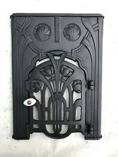 Antike Warmhaltefront Ofenplatte m. Tür Ofentür vom Gussofen Art Deco Jugendstil