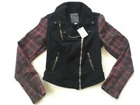 Guess Women's Moto Zip Biker Black Denim Jacket Contrast Coated Sleeves Size S