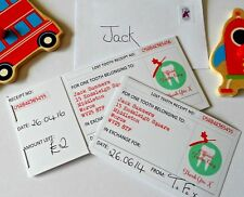 10 Personalised Miniature LOST TOOTH RECEIPTS with Fairy stamped envelopes,
