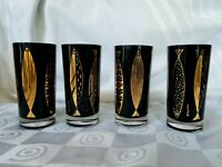 "Fred Press Black Gold Fish Highball Glasses 5½"" Tall Signed Set of 4 Gold @ 90%"