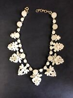J. Crew Fan Crystal Statement Necklace White Stone
