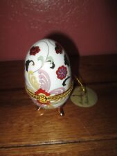 Greenbrier International Inc Porcelain Egg Trinket Box Floral with Gold Trim