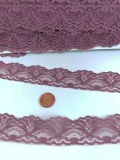 "Vintage Lace Trim 1 1/8""wide Dusty Mauve Fan Design 8 yards Sewing Crafts Lot 50"