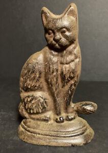 Pre-Owned Cast Iron Cat Kitten Kitty Doorstop Door Stop Black Brown
