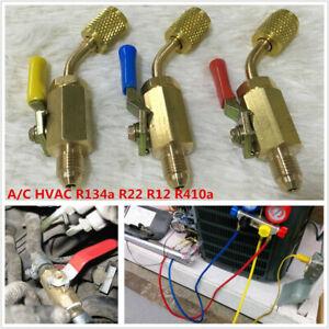 "45° Car Hose Adapter 1/4"" SAE A/C For R134a R22 R12 R410a Refrigerant Ball valve"