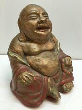 Vintage Retro Lauging Happy Buddha Statue Figure Sculpture Art Red Robe Plaster