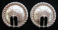 "Sunset Trails Vintage 5/8"" Solid Sterling Silver Bridle / Headstall Buckles"