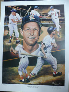"""Stan Musial """"St. Louis Cardinals"""" 24""""x18"""" Lithograph Signed By Angelo Marino"""