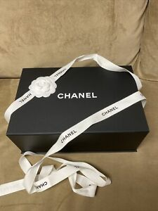 Authentic Chanel Magnetic Gift Box 12.25x8.25x4.5/camellia flower/tissue/ribbon