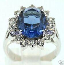 cadeau de Noël, zircon bleue & cristal, dame, Bague, taille 57#