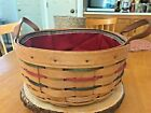 LONGABERGER  Woven Traditions 10 Inch DARNING Basket Leather Handles Liner 1996