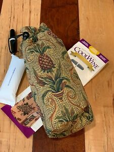 COOL WINE PINEAPPLE TAPESTRY INSULATED BOTTLE TOTE BAG & CORKSCREW NEW NIB  NEW