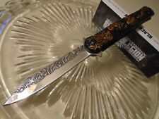 Black Legion Assisted Open Chrome Blade Gold Dragon Stiletto Pocket Knife 517