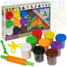 53 Piece Play Dough Craft Gift Set Tubs & ABC Number Shapes Childrens Toys Hobby