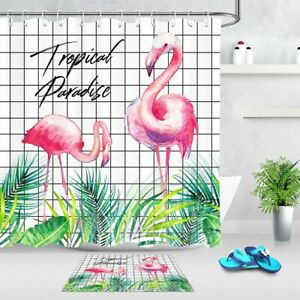 Tropical Paradise Flamingo Palm Leaves Waterproof Fabric Shower Curtain Set 72""