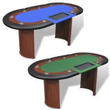 Mesa póker 10 jugadores con área de reparto y bandeja para fichas verde y azul