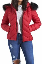Womens Quilted Chevron Long Sleeve Puffer Padded Hooded Long Fur Jacket Red 12
