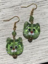$10 Green Glass Kitty Cat Pierced Earrings