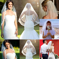 US 1 Layer White Cathedral Length Lace Edge Bride Wedding Bridal Long Veil Comb