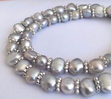 silber/blau Perlenkette Halskette mit 6mm silberne Süßwasserperlen Barock Perlen