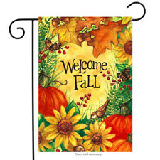 "Welcome Fall Floral Garden Flag Sunflowers Autumn 12.5"" x 18"" Briarwood Lane"