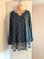 Teal Print Tunic Top Size 10/12 Bonprix Collection Brand New