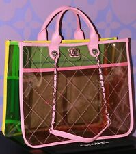 CHANEL S/S18 *COCO SPLASH PVC* Vinyl Quilted Tote Bag 2-way Transparent LIMITED!