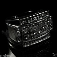 Jet Black Band Micropave Onyx CZ Mens Bling Hip Hop Iced Out Blackout Pinky Ring