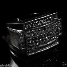 Jet Black Band Micropave Onyx CZ Mens Hip Hop Bling Out Iced Blackout Pinky Ring